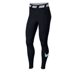"Nike high waisted cotton legging - teal ""swoosh"""